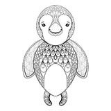 Vector pinguin for adult coloring page. Hand drawn funny pinguin Stock Photography
