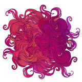 Vector pink abstract hand-drawn pattern with waves and clouds. S Stock Images