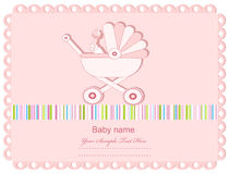 Vector pink baby greeting card with a sidecar Stock Photography