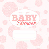 Vector pink baby shower party invitation (baby girl) with doodled swirles and empty space for text. Stock Image