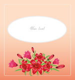 Vector pink background with flowers lilies Royalty Free Stock Images