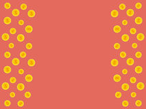 Vector pink background with golden falling coins and space for t Stock Photos