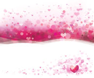 Vector pink background with hearts for Valentines  Stock Photos