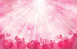 Vector pink background with lights, rays and  hear Stock Photo
