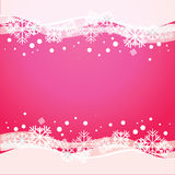 Vector pink background with snowflakes. Stock Images