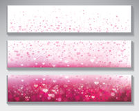 Vector pink backgrounds. Vector pink bokeh  background with hearts Stock Photo