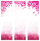 Vector pink backgrounds. Vector pink bokeh  background with hearts Royalty Free Stock Photography