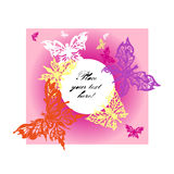 Vector pink backgrouround with colour butterflies Royalty Free Stock Image