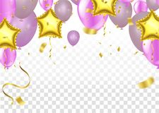 Vector pink balloons on white background, balloon, pink bubbles. Beautiful birthday texture Stock Photography