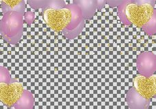 Vector pink balloons on white background, balloon, pink bubbles. Beautiful birthday texture Royalty Free Stock Photos