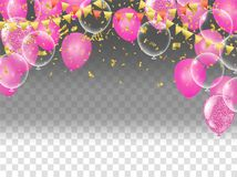 Vector pink balloons on white background, balloon, pink bubbles. Beautiful birthday texture Stock Photo