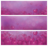 Vector pink banners with hearts. Royalty Free Stock Photo