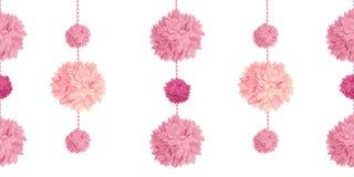 Vector Pink Birthday Party Paper Pom Poms Set Horizontal Seamless Repeat Border Pattern. Great for handmade cards. Invitations, wallpaper, packaging, nursery vector illustration