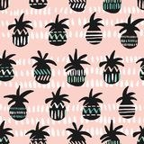 Vector pink and black patterned pineapple silhouettes seamless pattern background. Perfect for textiles, invitations, gift cards,scrapbooking, wallpaper vector illustration
