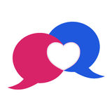 Vector pink and blue bubble chat with heart. Royalty Free Stock Image
