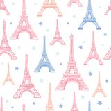 Vector Pink Blue Eifel Tower Paris and Flowers Seamless Repeat Pattern Surrounded By Stars. Perfect for travel themed. Postcards, greeting cards, invitations Royalty Free Stock Photo