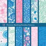 Vector Pink Blue Floral Hand Drawn Flat 12 Set. Seamless Pattern graphic design Royalty Free Stock Photography