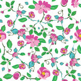 Vector Pink Blue Green Flowers Leaves Seamless Stock Photo