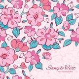 Vector pink blue kimono flowers frame corner Royalty Free Stock Images