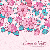 Vector pink blue kimono flowers horizontal border Stock Image