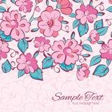 Vector pink blue kimono flowers horizontal border Stock Image