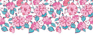Vector pink blue kimono flowers horizontal border Stock Photo
