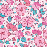 Vector pink blue kimono flowers seamless pattern. Background graphic design Royalty Free Stock Photo