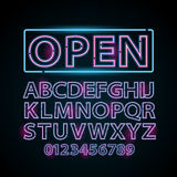 Vector pink and blue neon lamp letters font show vegas light sign theater. Vector pink and blue neon lamp letters font show cinema and theater Royalty Free Stock Photography