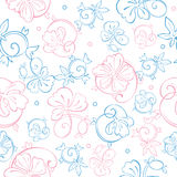 Vector Pink Blue Pastel Floral Swirls Seamless Royalty Free Stock Photos