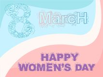 Vector pink blue roses greeting card 8 march. And happy womens day stock illustration