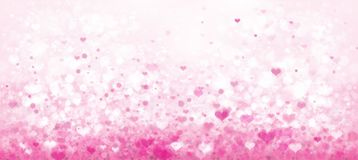 Vector pink bokeh  background. Vector pink bokeh  background with hearts Royalty Free Stock Image