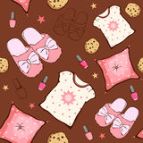 Vector Pink Brown Sleepover Party Food Objects. Seamless Pattern. Pizza. Popcorn. Pajamas. Treat. Graphic design Stock Photos