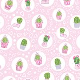 Vector Pink Cacti Tea Party Seamless Pattern stock images