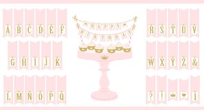 Vector pink cake stand with cupcakes. Set of printable letters cake bunting. Mini flags can use for decoration princess party birthday, baby and bridal shower Stock Images