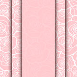 Vector pink card with roses pattern. Eps-10. Royalty Free Stock Image