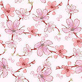 Vector Pink Cherry Sakura Flowers Seamless Pattern Royalty Free Stock Image