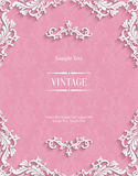 Vector Pink 3d Vintage Invitation Card with Floral Damask Pattern. Vector Pink Vintage Background with 3d Floral Damask Pattern Template for Greeting or Royalty Free Stock Images