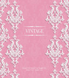 Vector Pink 3d Vintage Invitation Card with Floral Damask Pattern Stock Images
