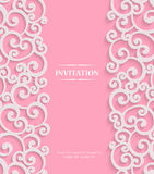 Vector Pink 3d Vintage Invitation Card with Floral Stock Photos