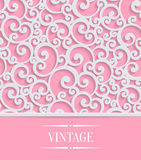Vector Pink 3d Vintage Invitation Card with Floral. 3d Floral Pink Wedding or Valentines Card with Curl Pattern. Vector Swirl Design Royalty Free Stock Image