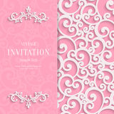 Vector Pink 3d Vintage Invitation Card with Swirl Stock Photo