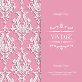 Vector Pink 3d Vintage Invitation Card Template with Floral Damask Pattern Stock Image