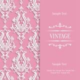 Vector Pink 3d Vintage Invitation Card Template with Floral Damask Pattern. Vector Pink Vintage Background with 3d Floral Damask Pattern Template royalty free illustration
