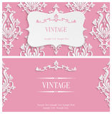 Vector Pink 3d Vintage Invitation Template with Floral Damask Pattern Stock Photography