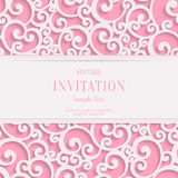 Vector Pink 3d Vintage Valentines or Invitation Stock Images