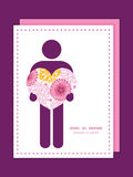 Vector pink field flowers man in love silhouette Royalty Free Stock Images