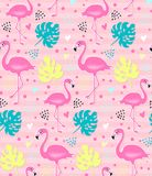 Vector pink flamingo, monstera seamless pattern. Summer tropical background. Colorful Design for fabric, wrapping paper and decor. Vector trendy illustration stock illustration