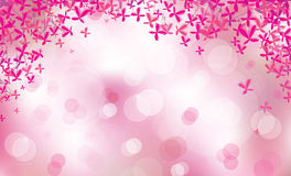 Vector pink floral border on bokeh background. Stock Photo