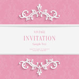 Vector Pink Floral 3d Christmas and Invitation Cards Background royalty free illustration