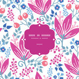 Vector pink flowers frame seamless pattern Stock Photo